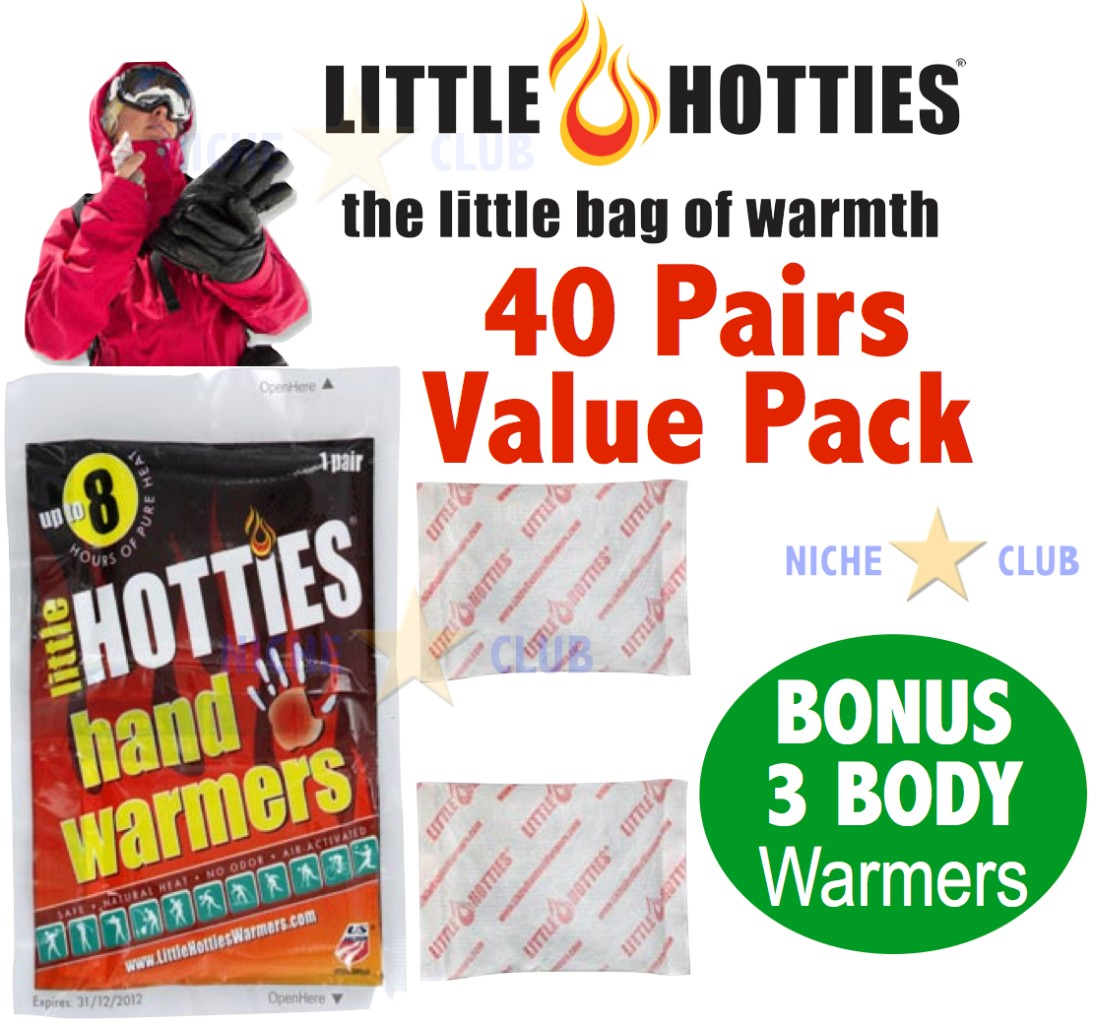 40-HOTTIES-Pocket-Hand-Warmers-Heat-Pack-Fuel-Glove-Insert-Heater-Pairs-NEW