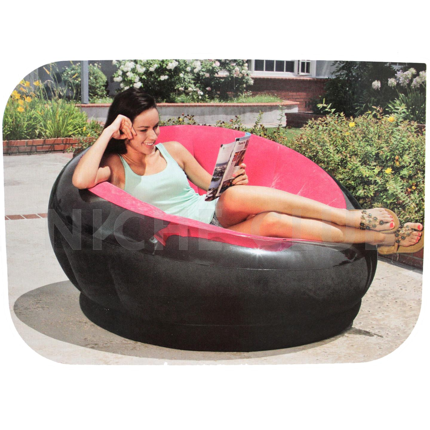 INTEX Luxury Inflatable Lounge Chair Indoor Outdoor Furniture Camping Bed Pil