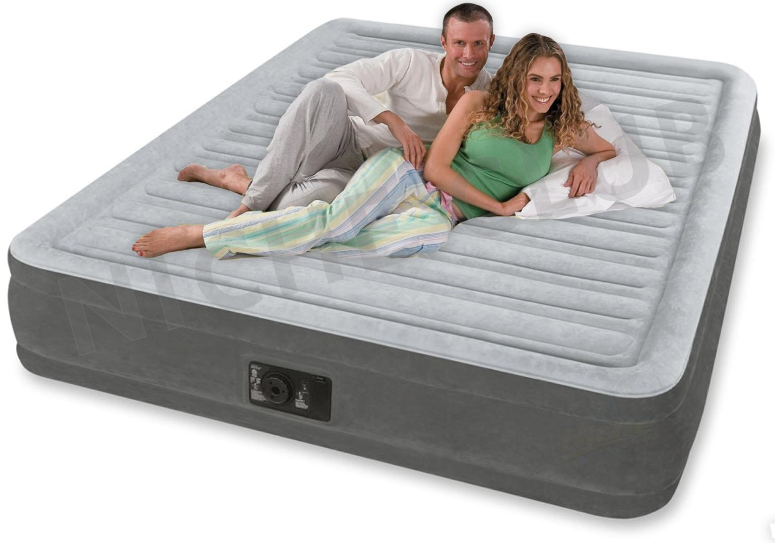 Intex Deluxe Queen Size Airbed Air Bed Mattress Quick Inflatable Camping W Pump Ebay