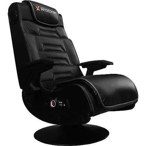x rocker pro black faux leather video game gaming chair w pedestal 51396 ebay. Black Bedroom Furniture Sets. Home Design Ideas