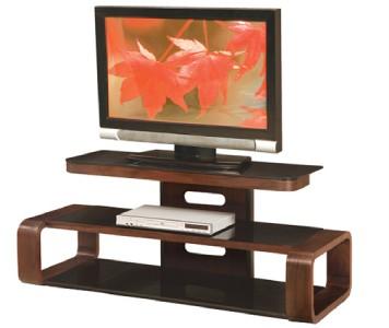 LumiSource Curved Birch Wood Veneer w Black Glass Shelving TV Stand TV