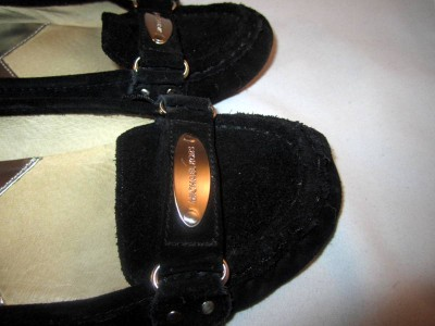 MICHAEL KORS black leather suede shoes flats loafers size 7.5 M