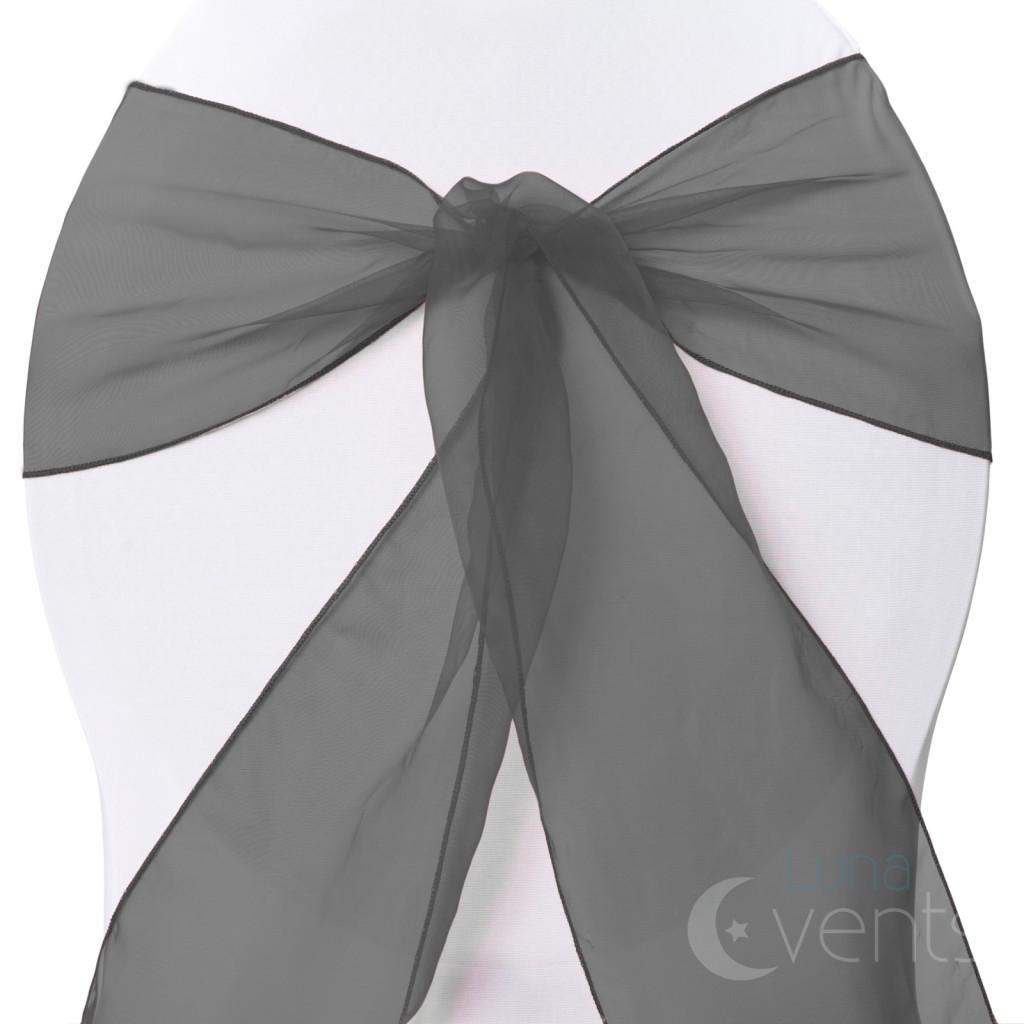 1 x Organza Sashes Chair Cover Bows Sheer Wedding Event White Black Silver Purpl