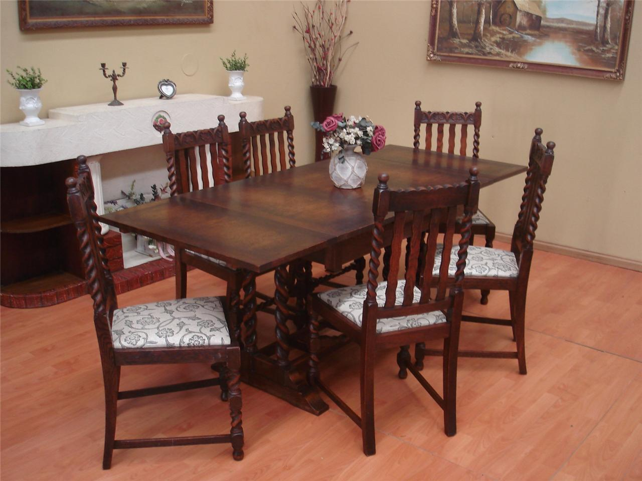 Antique oak barley twist extension draw leaf dining room for 8 seater dining room table