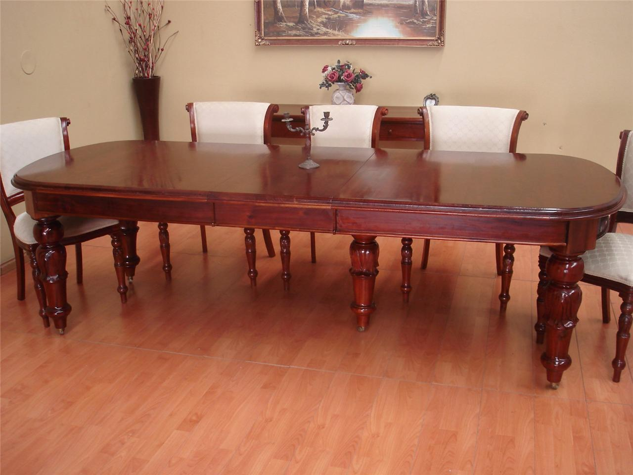 Antique Style Mahogany 10 Seater Extension Dining Room