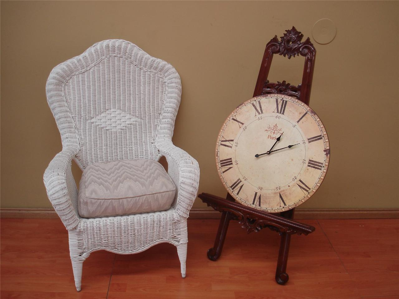 vintage white cane wicker indoor outdoor lounge chair seat with