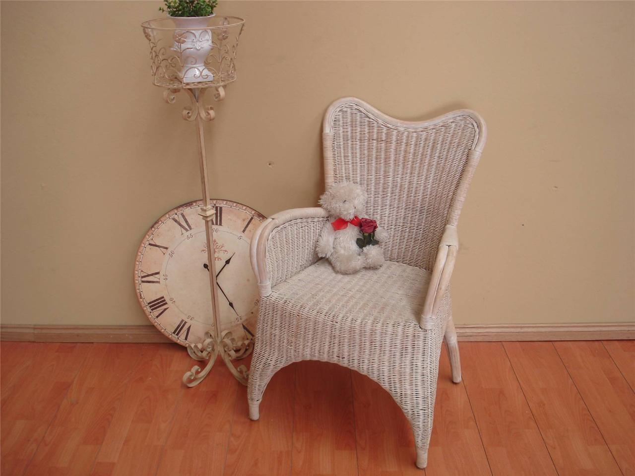 about vintage white cane wicker indoor outdoor lounge chair seat