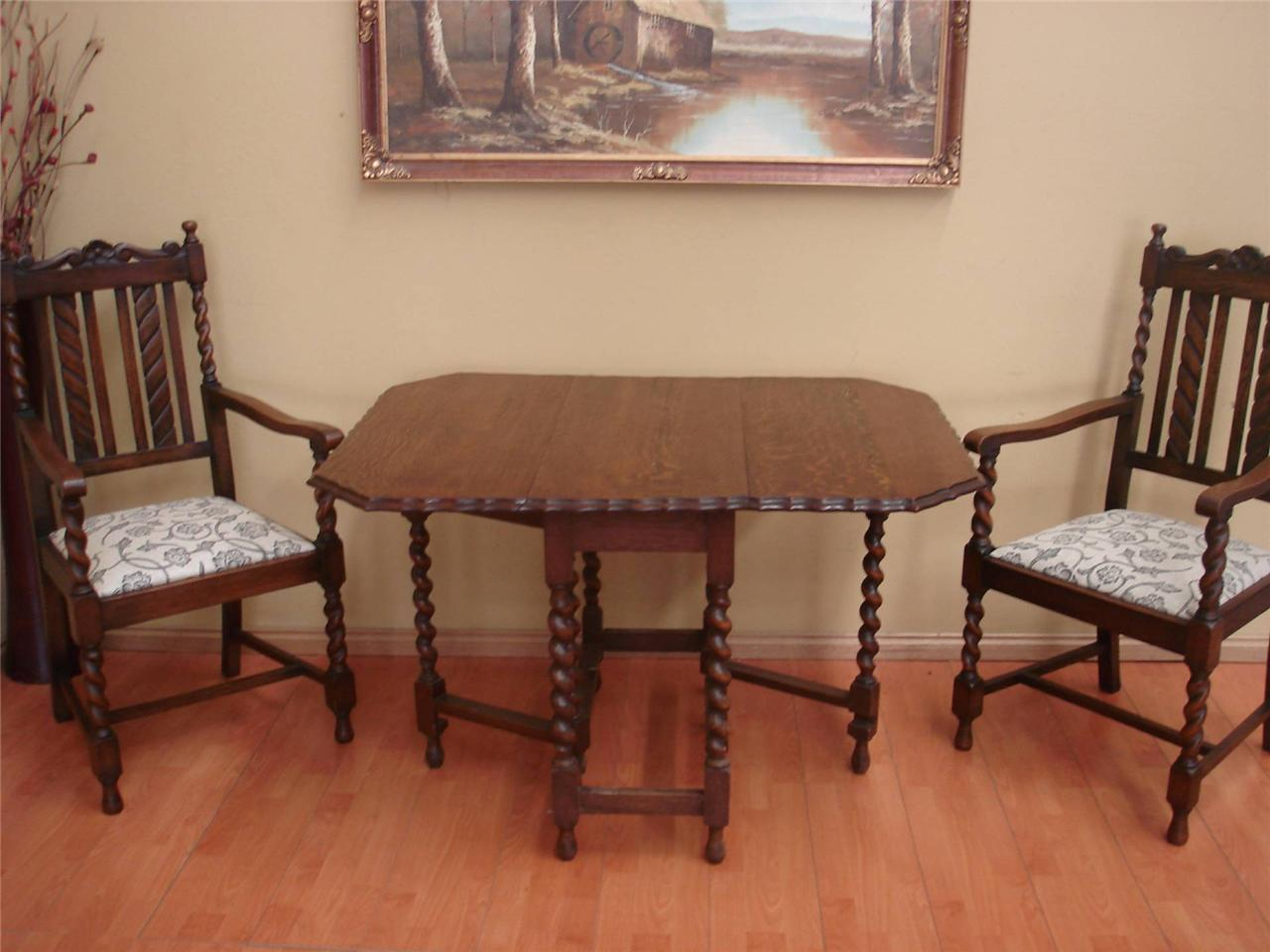Antique oak barley twist drop side dining room table 4 for Dining room table 4 seater