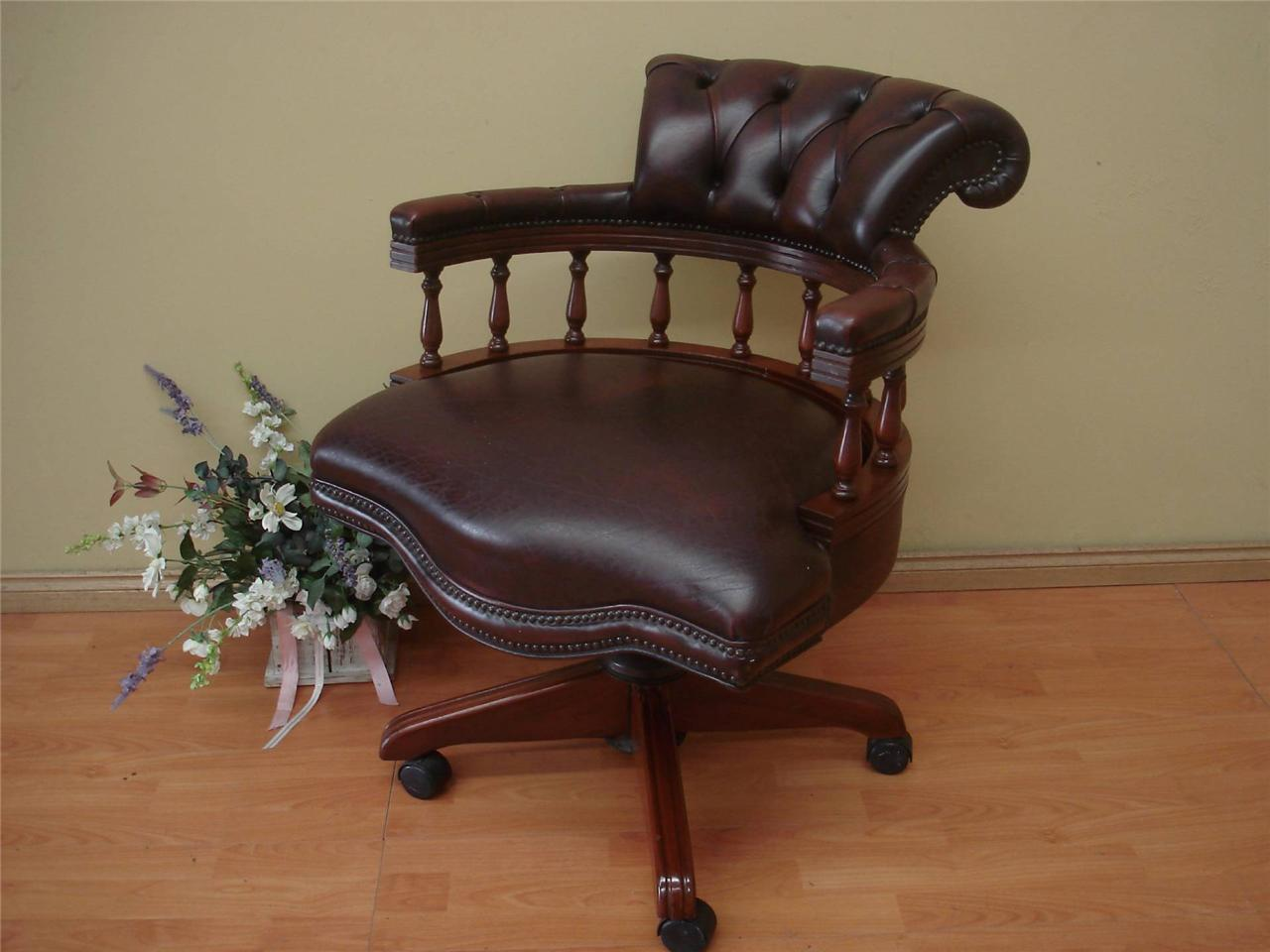 Vintage Chesterfield Style Leather Captains Chair Office Desk Chair