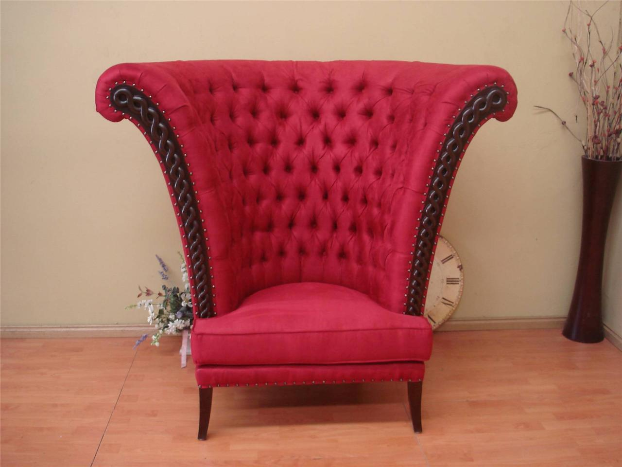NEW French Provincial Maharaja Hall Lounge Bedroom chair Sofa in Red Suede