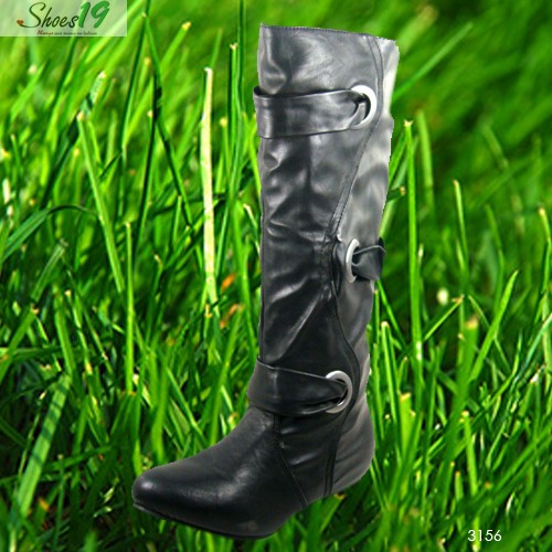 Sexy-Buckle-Straps-Knee-High-Slouch-Flat-with-Wedge-Heel-Black-PU-Boots-Shoes