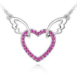 SPCN010 I Love You Angel Wings Charm Heart Austrian Crystal Wedding