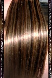 extensions de cheveux a clips chocolat meche blond caramel lisse. Black Bedroom Furniture Sets. Home Design Ideas