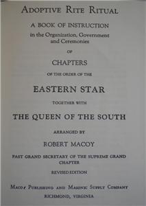 Masonic Eastern Star Adoptive Rite Ritual