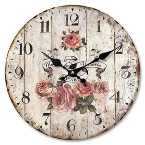 34cm Large Wooden Wall Clock Vintage Retro Antique Shabby Chic Look Style Roses