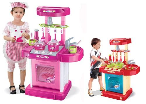 Kids electronic pretend play kitchen childrens play set for Electronic kitchen set