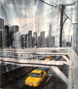 Jaune taxis croisement pont en new york rideau douche - Rideau new york taxi jaune ...
