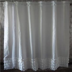 White Elegant Shabby Chic With Silver Glittery Stripes Bathroom Shower Curtain Ebay