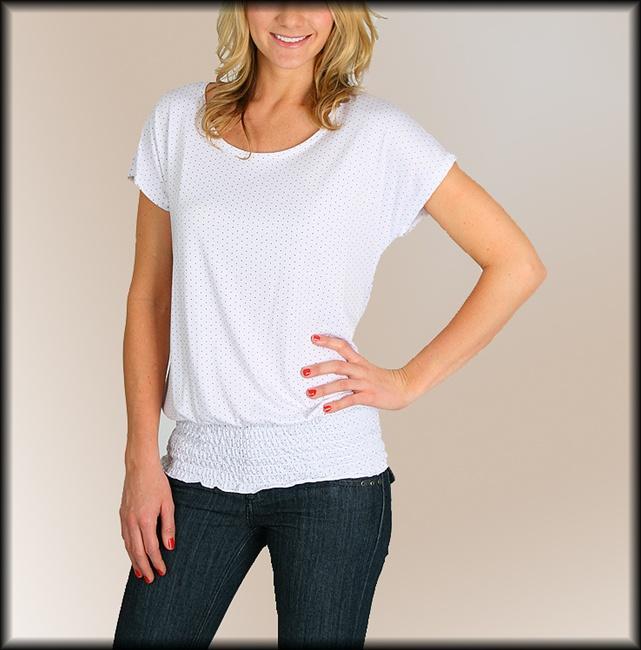 New Andrea White Red Polka Dot Dolman Shirt Sz s M L