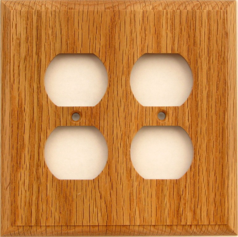 Red oak wood double duplex outlet wall plate cover ebay