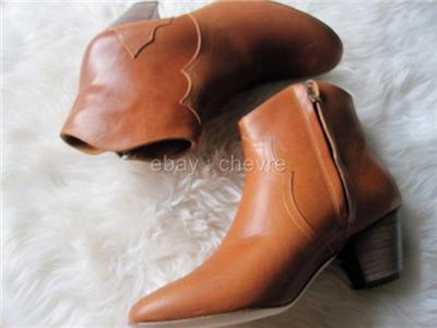 Isabel Marant Dicker Caramel Cognac Brown Calfskin Leather Boots 39