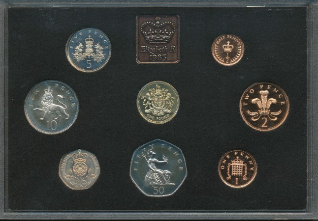 UK-ROYAL-MINT-1983-PROOF-COIN-SET-IN-PERSPEX-BOXED