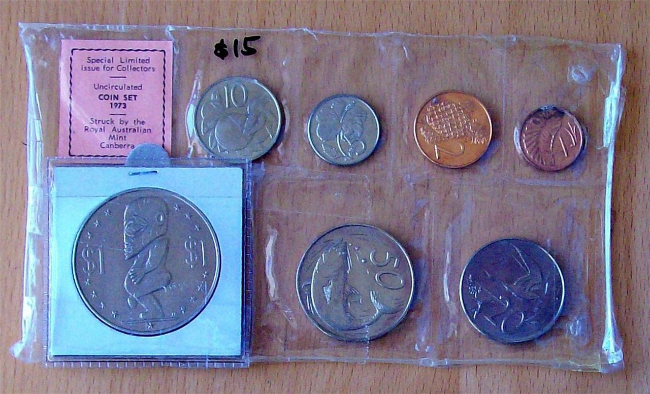 COOK-ISLANDS-1973-UNCIRCULATED-COIN-SET-ROYAL-AUSTRALIA-MINT-7-COINS
