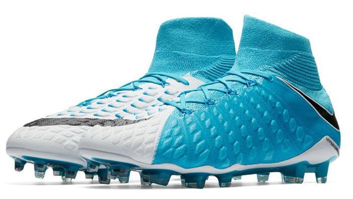 Nike Hypervenom Phantom III DF FG Men's Football Soccer Cleats White/Blue 1704