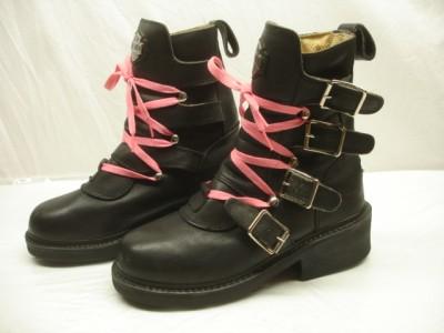 Harley Davidson black motorcycle boots leather ANGELIA platform VTG