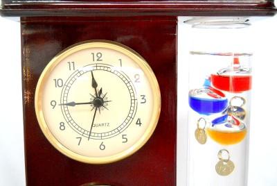 New Dark Cherry Wood Finish Galileo Thermometer Clock