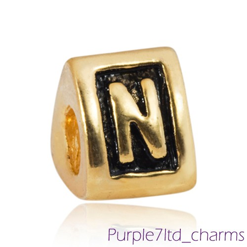 1PC Gold EP Letter A - Z Alphabet European Bead Charm