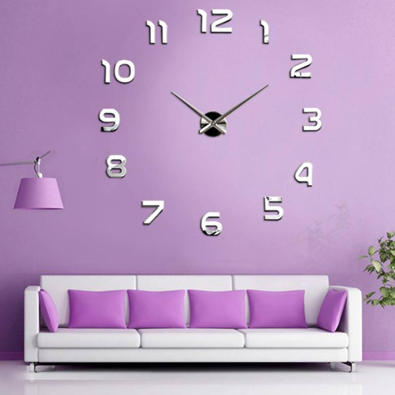 Large Number Wall Decor : New fashion large number wall clock diy d mirror sticker