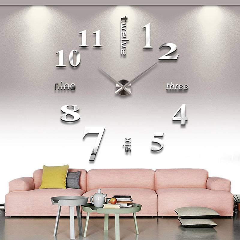 Modern Art Decor Wall Clock Sticker : Modern design luxury diy d art wall clock sticker home
