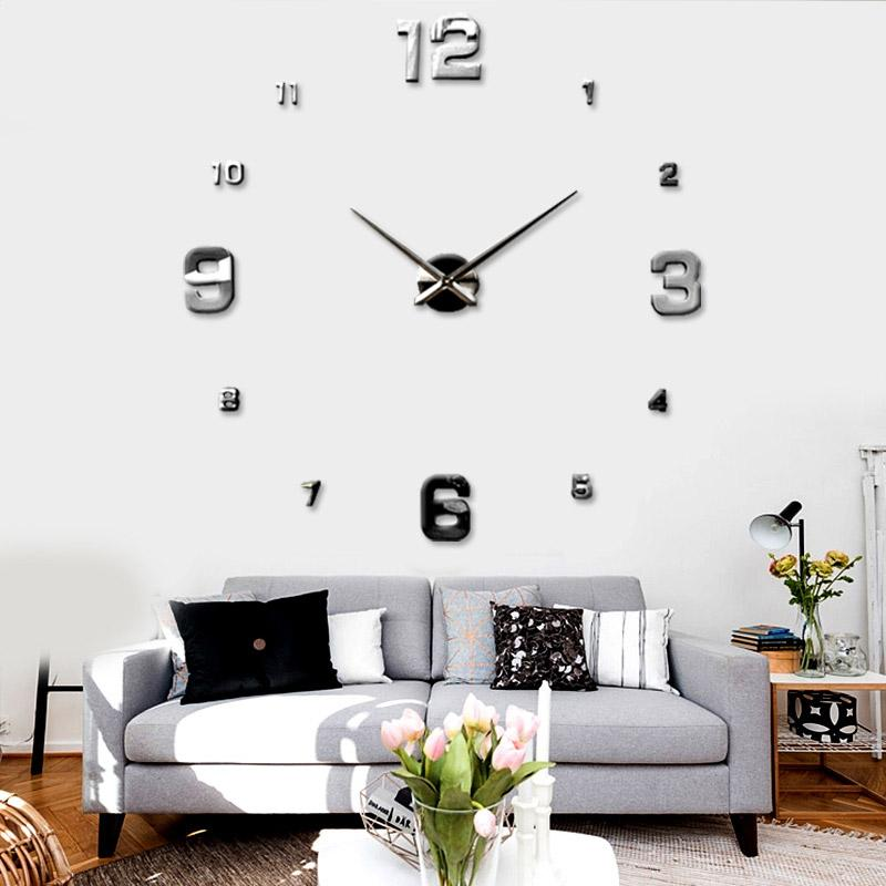 Luxury Living Room Wall Decor : New mirrors surface creative art diy d wall clock luxury