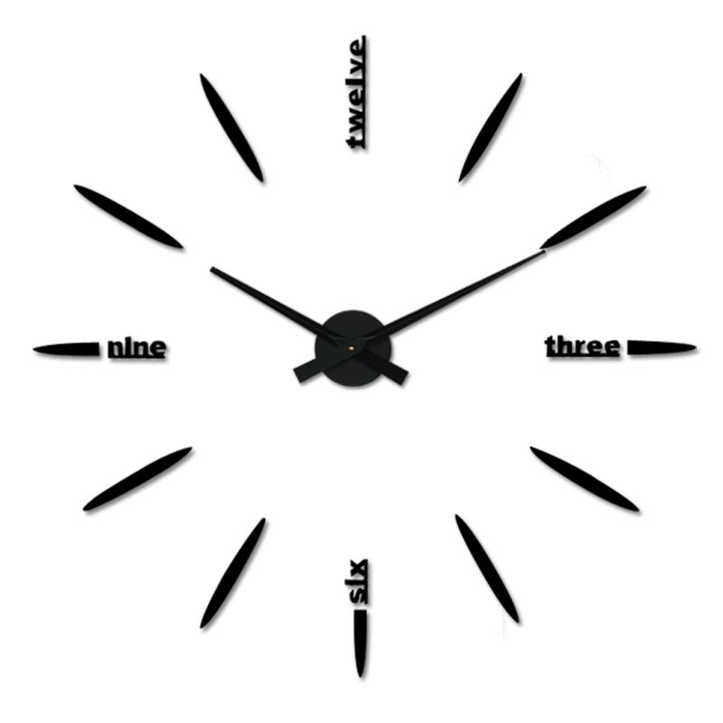 1 New Extra Large Wall Clocks Black 3d Diy Modern Style