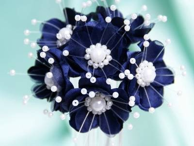 NAVY BLUE FLOWER WITH PEARLS WEDDING CRAFTS FAVOURS EBay