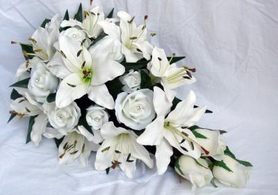 Wedding Bouquet Set White Lily Roses X 6 Items Ebay