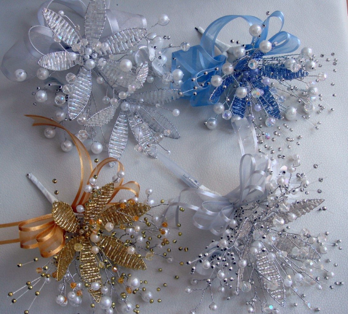 CAKE TOPPER Crystal Flower Pearls AB Crystals