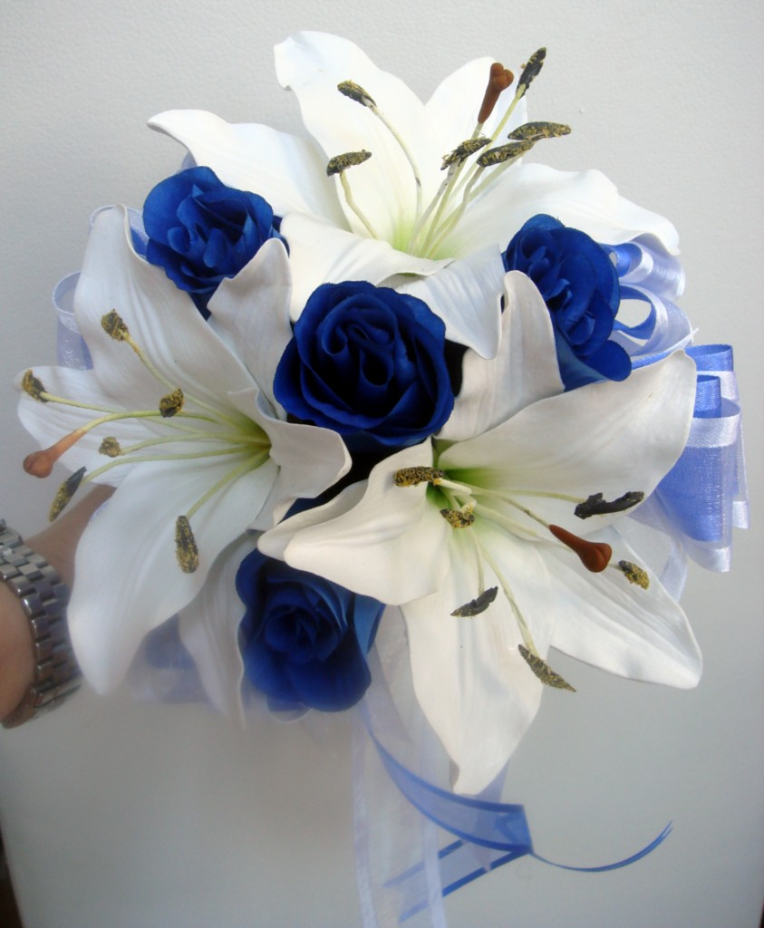 Royal Blue And Ivory Wedding Bouquets : Bridesmaids wedding bouquet lillies roses purple royal