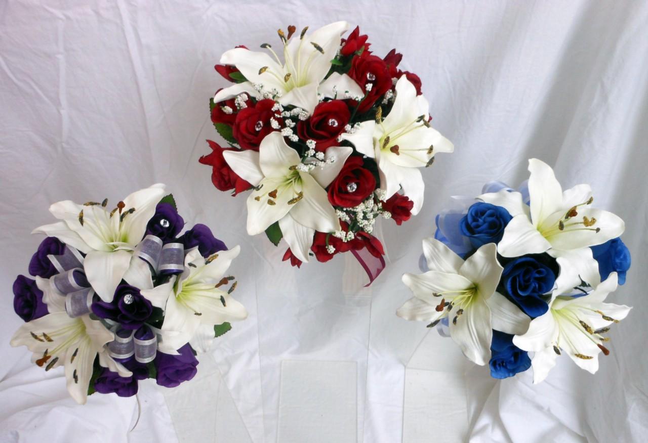Bridesmaids-Wedding-Bouquet-Lillies-Roses-Purple-Royal-Blue-Deep-Red