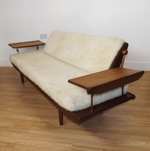 Toothill retro sofa bed solid afrormosia danish style mid for Sofa bed 60s