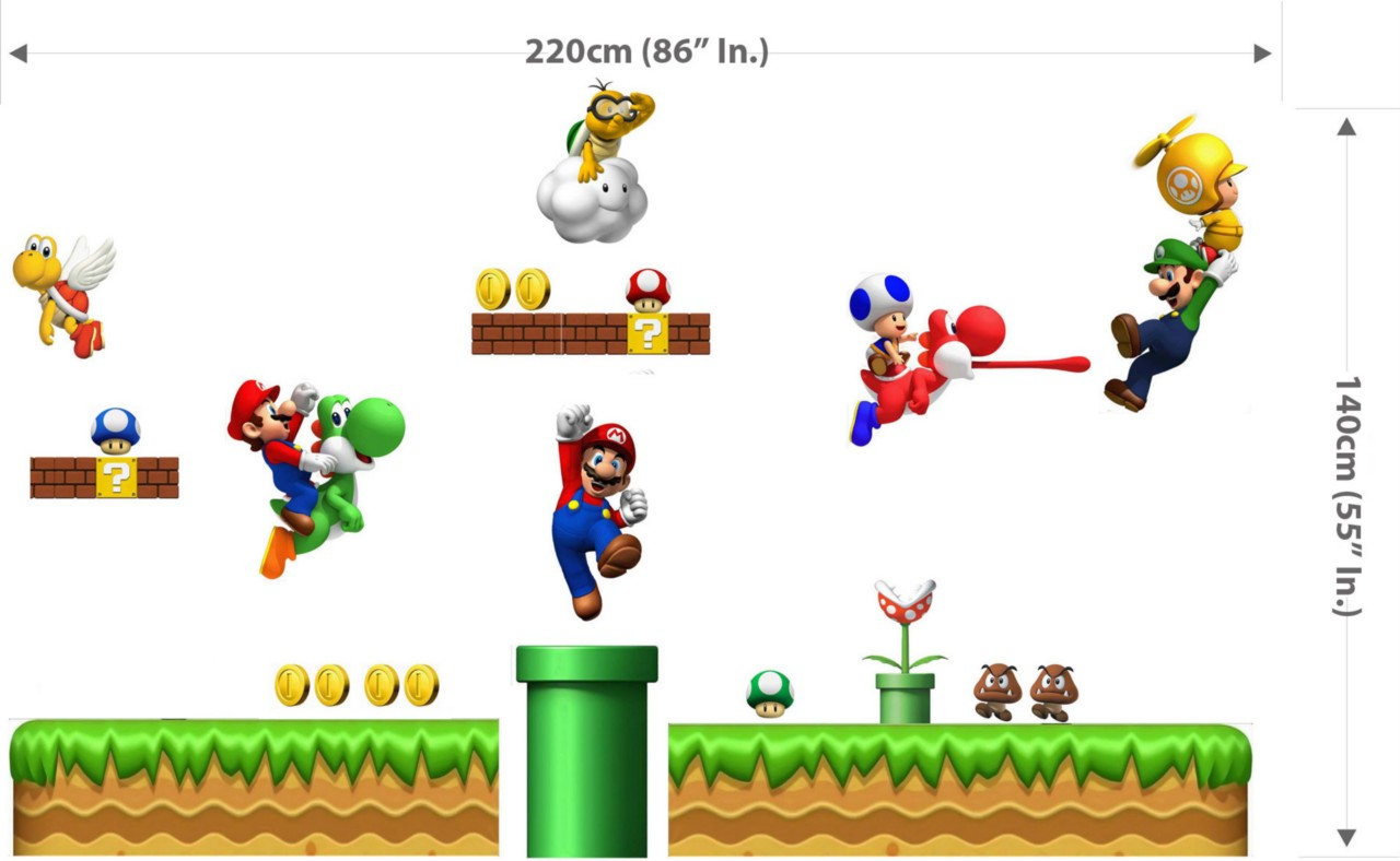 Huge Super Mario Bros Scene Repositionable Wall Sticker