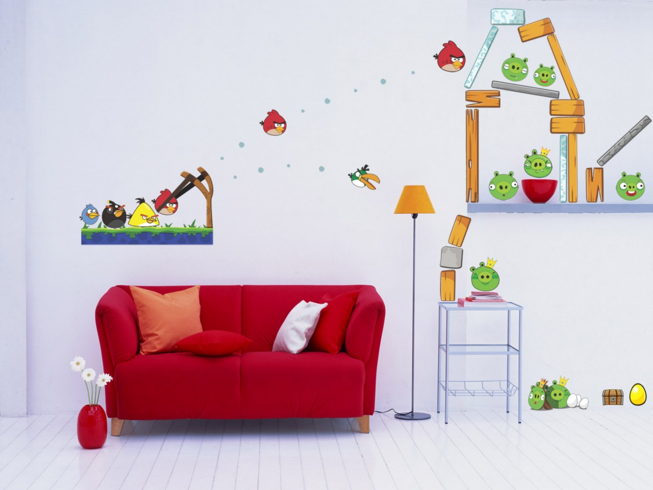 Huge angry birds decal removable giant wall sticker mural for Angry bird wall mural