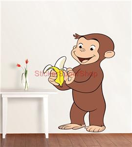 Choose size curious george decal removable wall sticker for Curious george wall mural