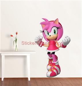 Choose size amy rose sonic mario decal removable wall sticker decor art ebay - Sonic wall decals ...