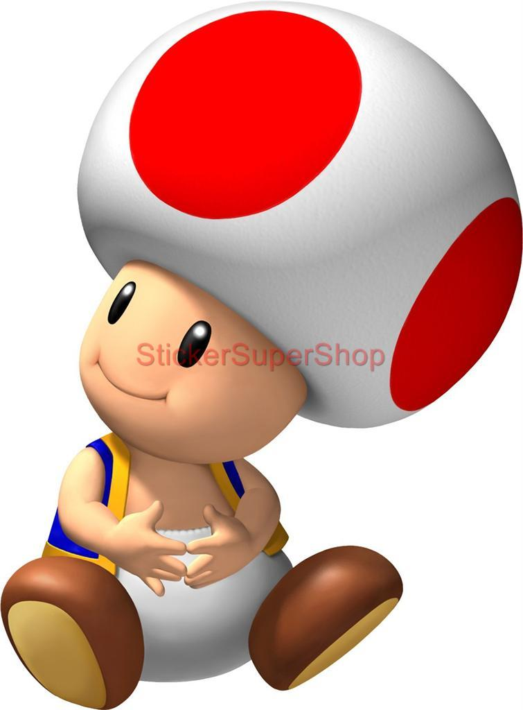 Choose Size Sitting Toad Super Mario Bros Decal Removable Wall Sticker Decor