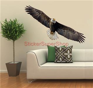 Choose size bald eagle artwork animals decal removable for Eagle decorations home
