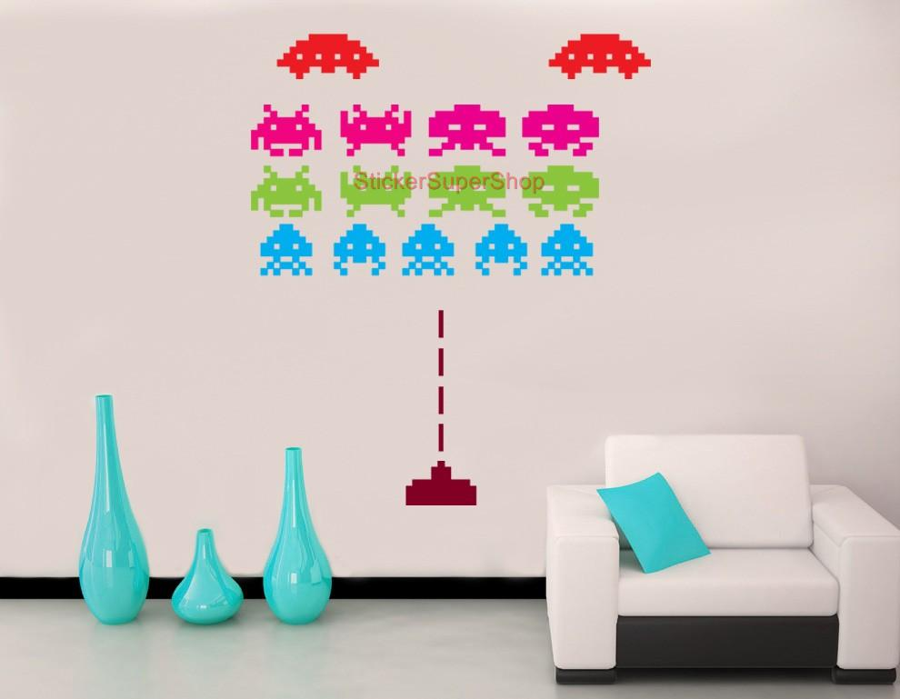 Huge space invaders retro set decal removable wall sticker vinyl video game ebay - Space invader wall stickers ...