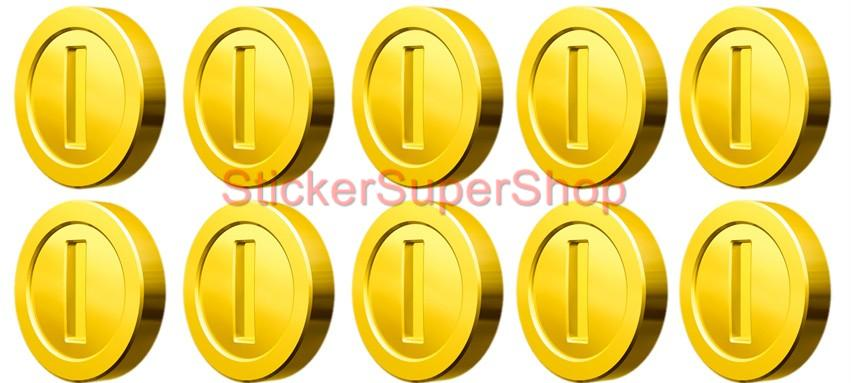 CHOOSE 10/20/40 COINS - SUPER MARIO Bros Decal Removable WALL ...