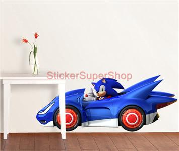 Choose size sonic the hedgehog race car decal removable wall sticker transformed ebay - Sonic wall decals ...